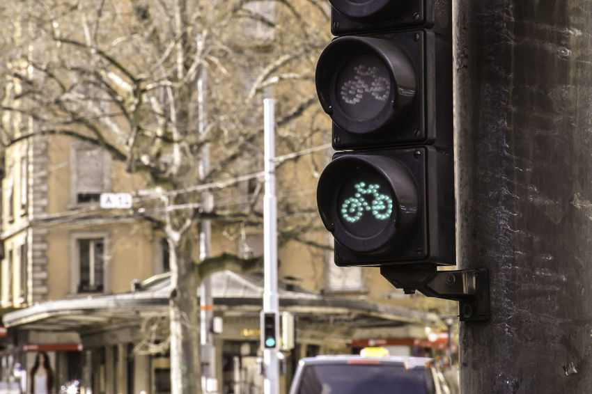 bicycle trffic green light Architecture Bicycle Built Structure City Close-up Day Focus On Foreground Green Light Nature No People Outdoors Traffic Lights Tree