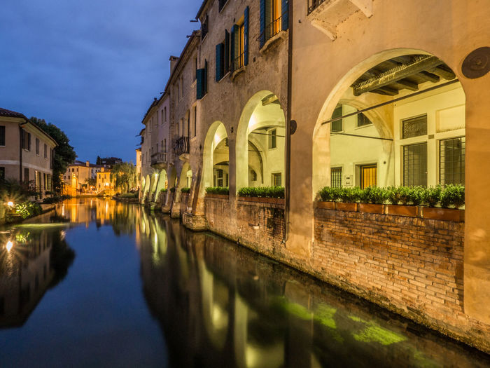 Treviso Architecture Building Building Exterior Built Structure Canal Canale Dei Buranelli City House Illuminated Italy Nature Night No People Outdoors Reflection Residential District Sky Water Waterfront Window