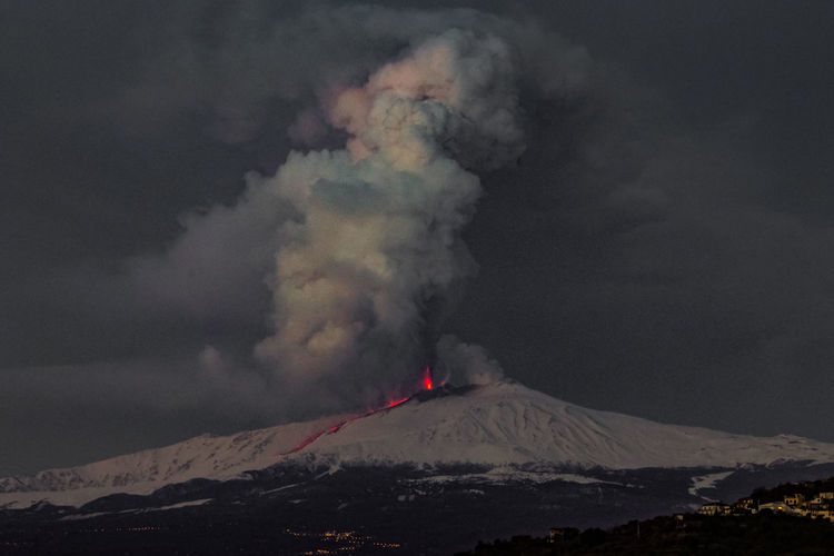 Mountain Smoke - Physical Structure Volcano Sky Beauty In Nature Geology Erupting Environment Power Power In Nature Non-urban Scene Scenics - Nature Nature Cloud - Sky No People Land Landscape Mountain Range Active Volcano Sign Outdoors Mountain Peak Snowcapped Mountain