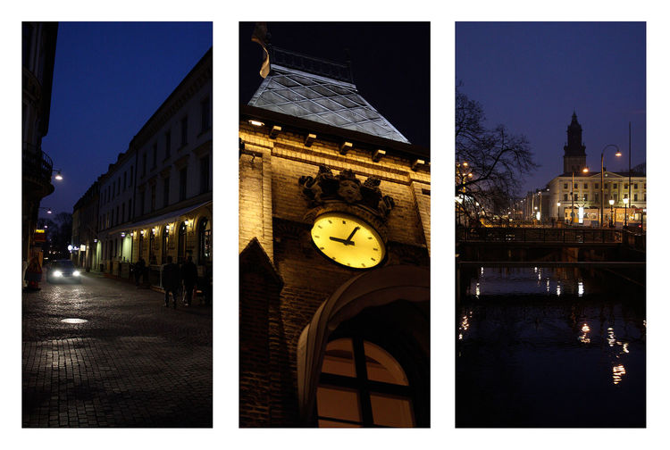 Bridge City Lights Cityscape Cityspaces Clock Tower Clocktower In The Night Into The Night Night Night In The City Town Triptych