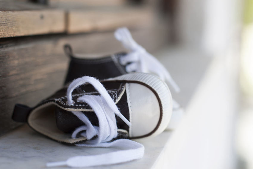 Brown Close-up Clothing Day Empty Fashion Focus On Foreground Laces Little Boy No People Outdoors Schoes Selective Focus Sneakers Still Life Summer