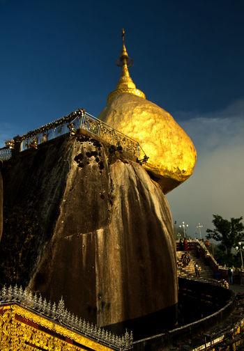 Myaiktiyo Pagoda Tourist Attraction  World Heritage Architecture Buddhism Burma Gold Colored Golden Rock Pagoda Myanmar Outdoors Place Of Worship Religion Spirituality Travel Destinations Worship Places