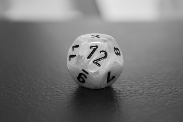 A 12 sided dice. 12 12 Sided Die Black And White Blackandwhite Board Games Dice