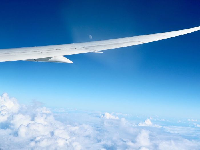 Sky Blue Airplane Flying Transportation Cloud - Sky Nature No People Day Low Angle View Outdoors Aircraft Wing Scenics Airplane Wing Beauty In Nature