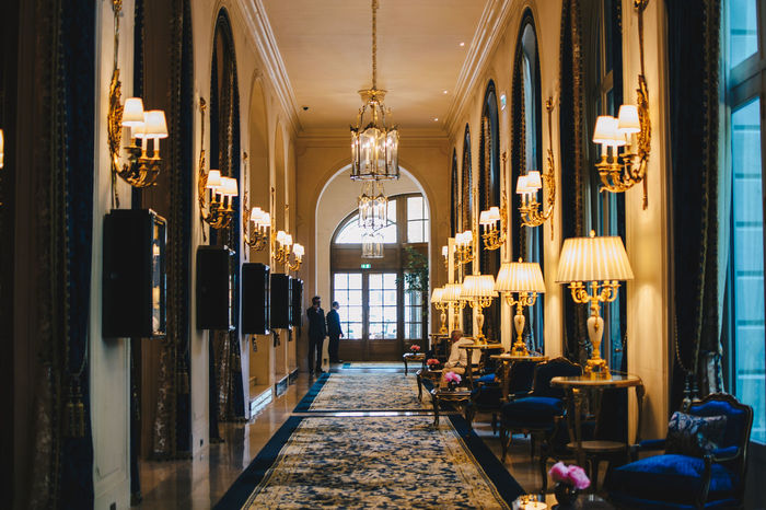 Hallway of the Ritz, Paris Elégance Hallway Interior Style Interior Decorating Luxury Hotel Luxury Travel The Ritz Carlton Travel Traveling Architecture Blue Classy Europe Expensive Hotel Indoors  Interior Interior Design Lamps Large Luxury Luxury Life Ritz Travel Destinations