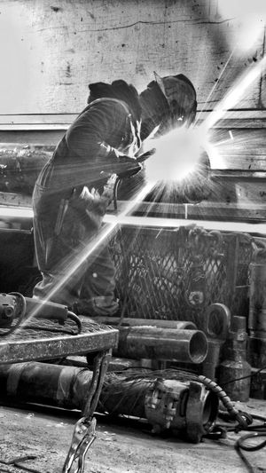 Welding High Contrast Workingman Blue Collar Industry Industrial Welder Miner Blackandwhite Menatwork Working Hard Working Man Work Place