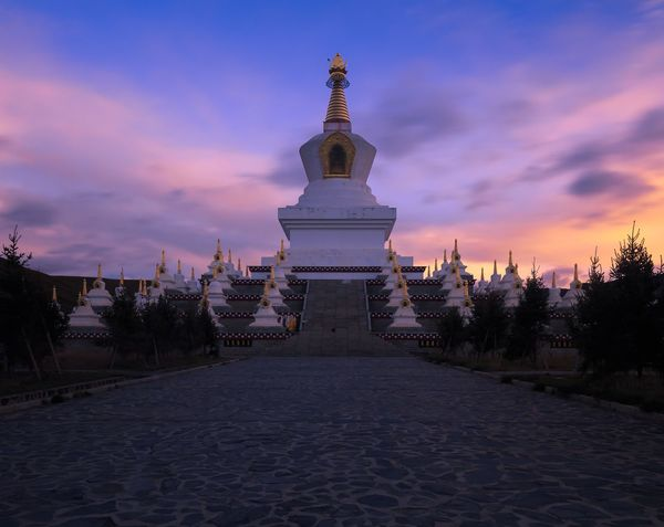 Sky Cloud - Sky Religion Architecture Outdoors Built Structure No People Building Exterior Spirituality Travel Destinations Place Of Worship Sunset Day China Sichuan