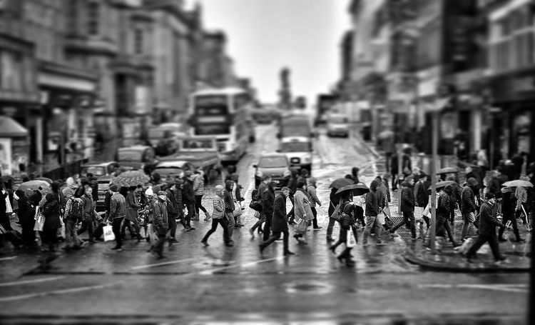 Architecture Black And White City City Life Crossing The Street Edinburgh Landscape Large Group Of People People Princes Street Raining Raod Real People Scotland Tiltshift Weather Weathered Traveling Home For The Holidays