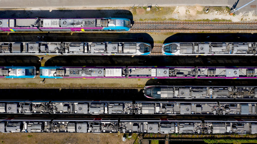 Aerial photography of passenger trains in Nantes Blottereau railway station, France Mode Of Transportation Day Nantes Blottereau Station Loire Atlantique France Passenger Train Train Train Station Railroad Track Rail Transportation Transportation Aerial View Aerial Photography Landscape Landmark Tracks Lines In A Row Railway Railway Track Railway Station Above Vertical Composition