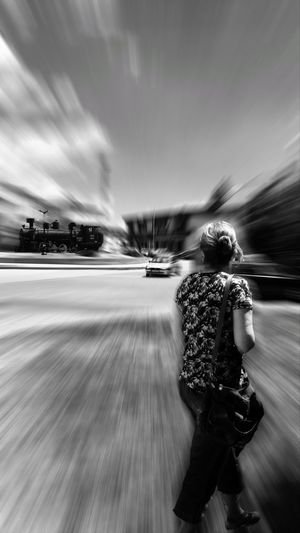 Locomotive EyeEm Black And White Blackandwhite Photography Entrance Woman Writer Road Full Length Motion Adventure Speed Activity Long Exposure Blurred Motion Car