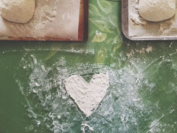 Heart Shaped  Love Heart Crafts Kitchen Handmade Kitchen Crafts Baking Bread Dough Comfort Baking Tools Overhead View Flour Food Comfort Foods Homemade Bread Homemade Homemade Food Artisan Artisan Bread