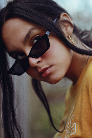 Closeup, 2019 One Person Headshot Young Adult Portrait Real People Young Women Lifestyles Beauty Beautiful Woman Hair Glasses Women Close-up Leisure Activity Fashion Hairstyle Adult Long Hair Human Face Human Hair Sunglasses Fashion 90s Retro Styled Teen Girl The Portraitist - 2019 EyeEm Awards