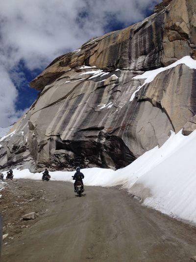Adventure Bike Ride Bikes Biking Cold Temperature Himalaya Himalayan Road Mode Of Transport Mountain Range Snow Snow Covered