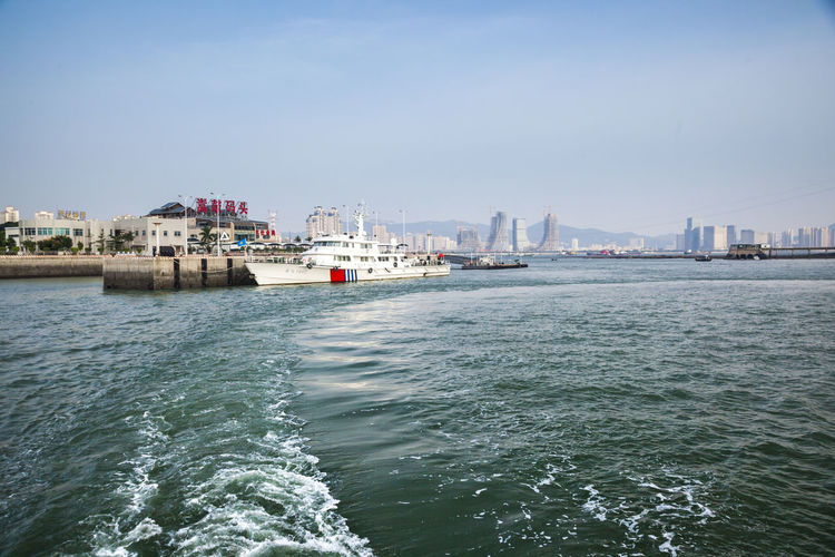 City Cityscape Clear Sky Commercial Dock Day Nautical Vessel No People Sea Sky Spoondrift Spray Water Waves