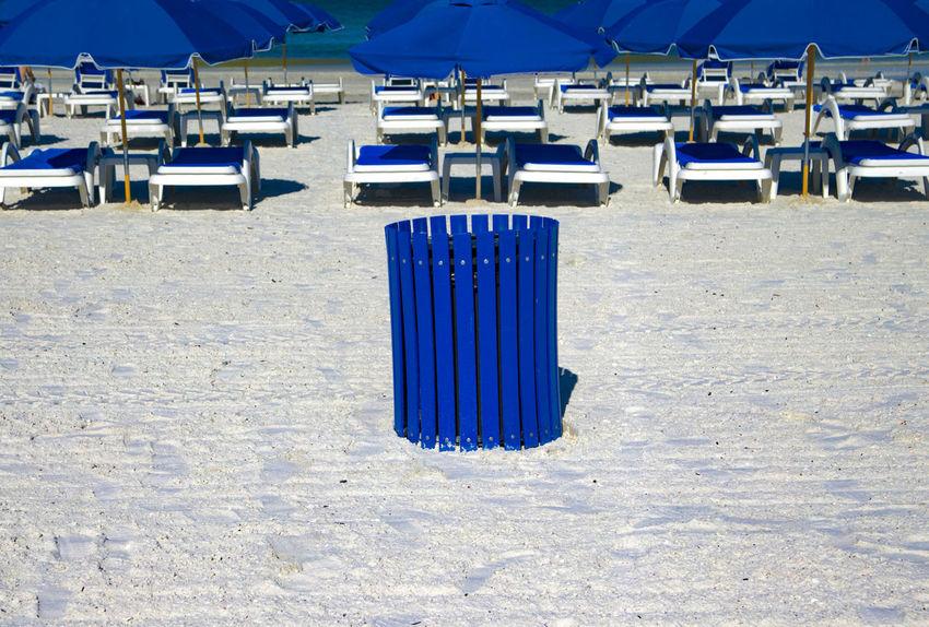 Trash Trash Bin White Sands Beach Bin Blue Day Deck Chairs Dust Bin Group Of Objects No People Outdoors Sand Seat Summer