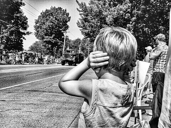 Boy covering ears at a parade HDR Eye4photography  EyeEm Best Shots - Black + White Monochrome Childhood Childhood Memories Child Son Kids Boy Summer Summertime Kids Being Kids Kids Having Fun Black & White Black&white Blackandwhite Black And White Parade Parade Time Parades EyeEm Best Shots Blackandwhite Photography America Forth Of July