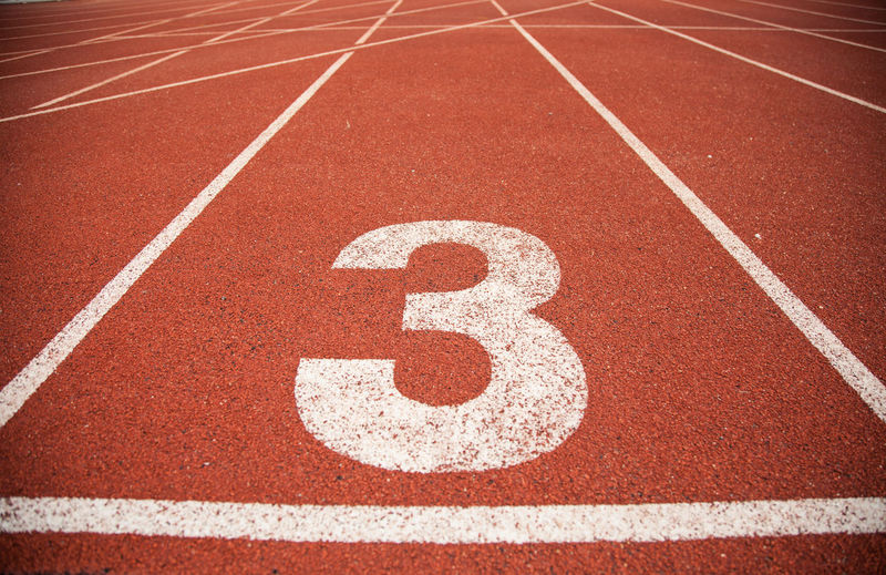 Number on empty running track