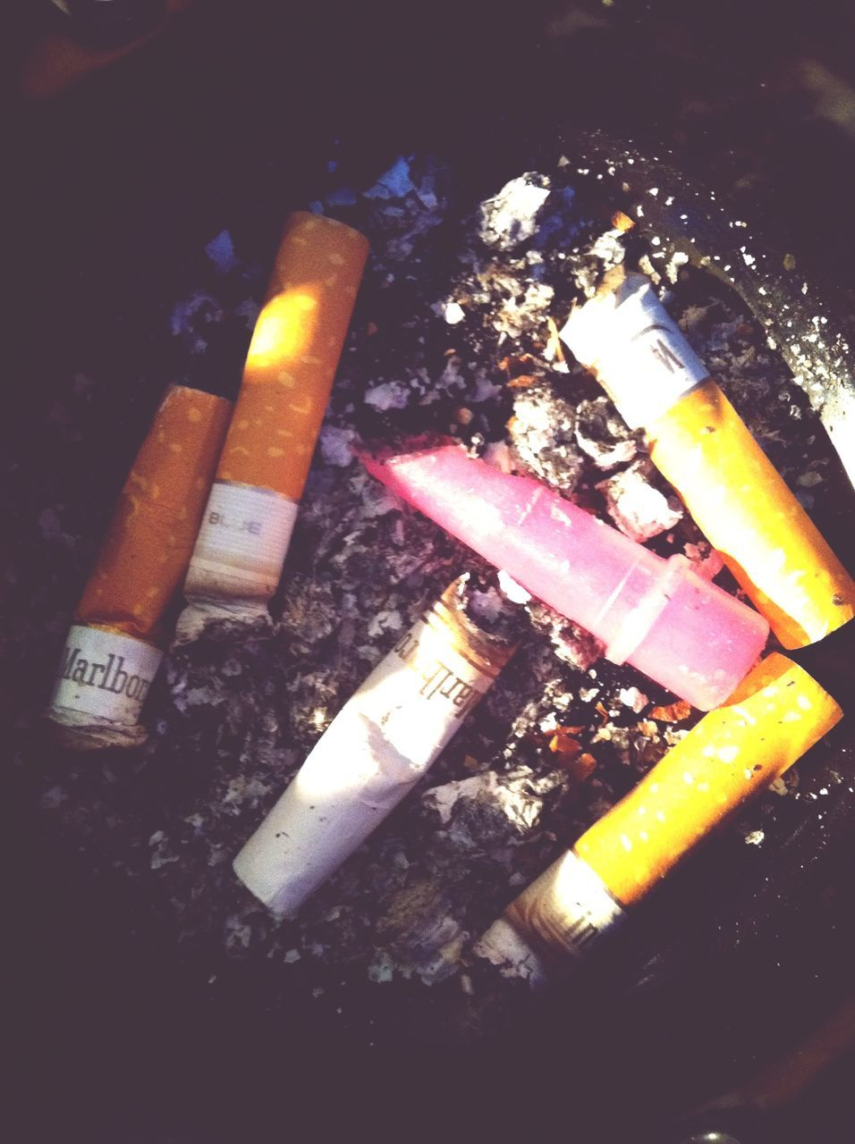 bad habit, smoking issues, addiction, cigarette, cigarette butt, ash, ashtray, danger, social issues, risk, indoors, no people, burning, close-up, night