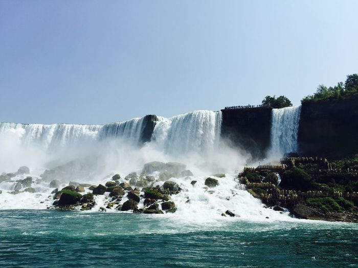 View of waterfall against clear sky