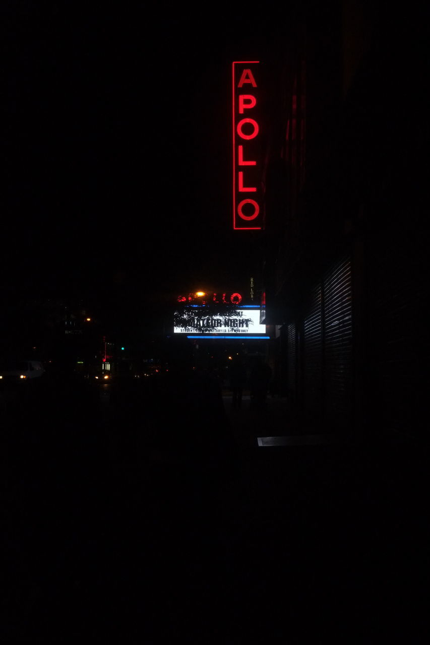 illuminated, night, text, communication, neon, red, outdoors, no people, city
