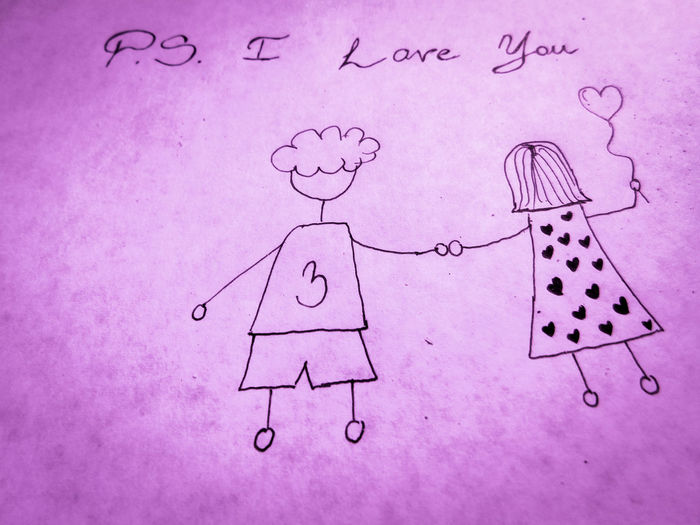 PS I LOVE YOU Couple EyeEmNewHere Holding Hands Love Ps I Love You Relationship Young Close-up Creativity Cute Day Doodle Drawing - Activity Handmade In Love Indoors  No People Paper Ps Sketch
