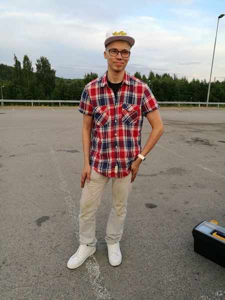 Summer evening outside of car spare part shop 👍 Only Men One Man Only Standing Front View Adult Checked Pattern Adults Only One Mature Man Only Mature Adult One Person People Men Mature Men Portrait Looking At Camera Day Outdoors Photography Summer Landscape Finnishboy Me Fashion Blond