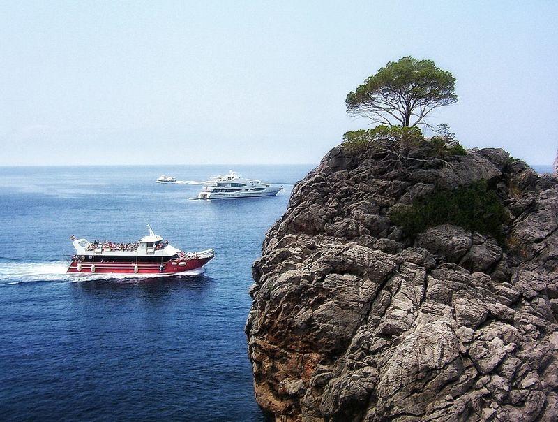 Mallorca Mediterranean Sea Cliff Yatch Marine Tourist Boat Trip Tree And Sea Blue Sky Colour Of Life