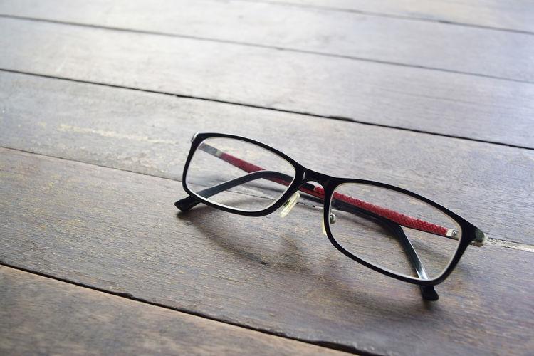 Glasses on wood