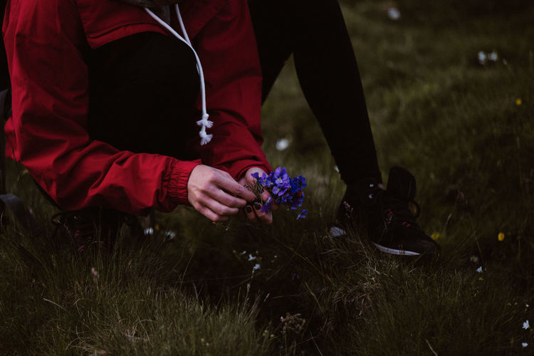 Low section of woman picking flowers while sitting on grassy field
