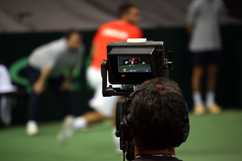TV camera spotting during tennis Davis Cup match Troicki vs Khachanov Broadcast Camera - Photographic Equipment Photography Themes Real People Rear View Tennis Indoor