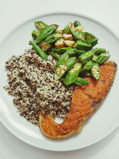 My kind of comfort food Ladiesfinger SalmonLove Quinoa Food Ready-to-eat Plate Freshness Close-up Indoors