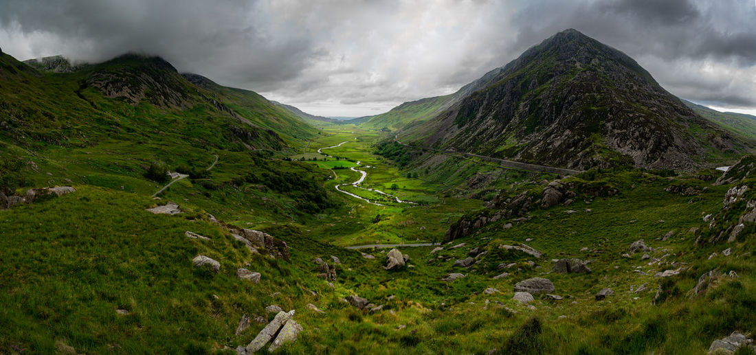 Want Ffrancon pass, North Wales Wales Wales UK Snowdonia North Wales Scenics - Nature Cloud - Sky Beauty In Nature Mountain Tranquil Scene Sky Environment Tranquility Non-urban Scene Landscape Green Color No People Nature Day Plant Idyllic Mountain Range Outdoors Grass Remote