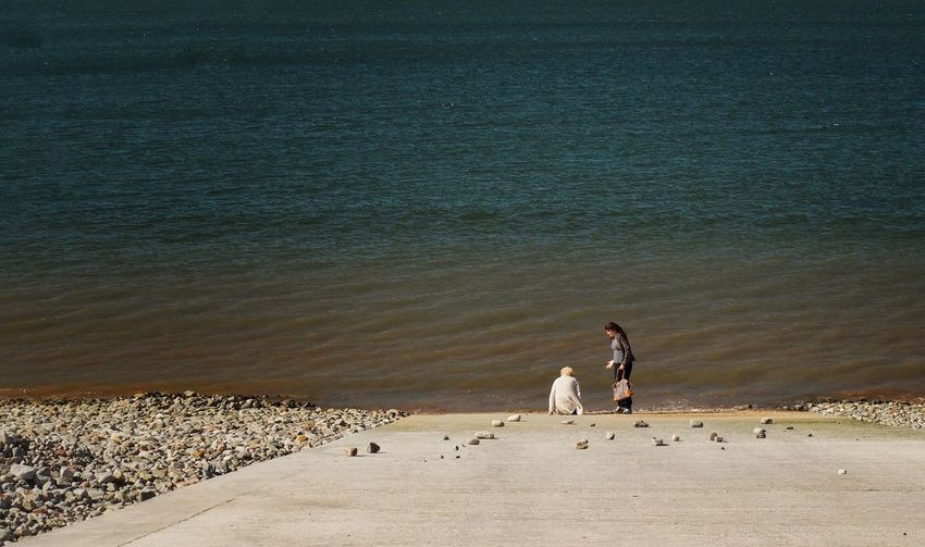 High Angle View Of Women At Llandudno Beach