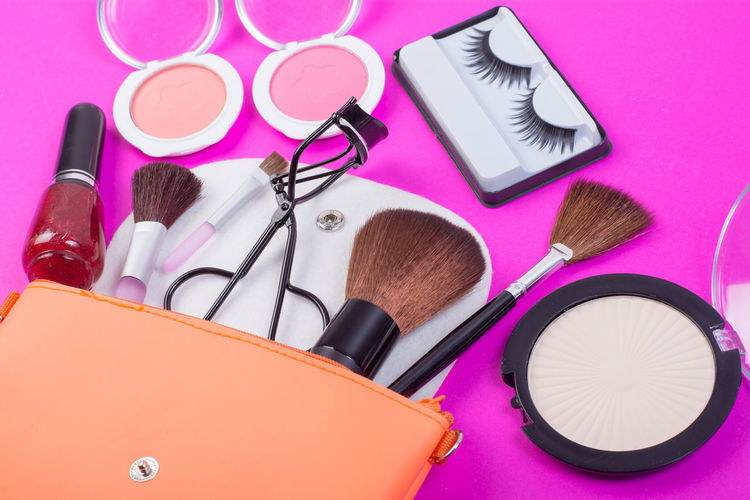 Beauty Product Blush - Make-up Body Care And Beauty Choice Close-up Eyeshadow Fashion Group Of Objects High Angle View Indoors  Large Group Of Objects Lipstick Make-up Make-up Brush Man Made Man Made Object Multi Colored No People Personal Accessory Pink Color Still Life Table Variation