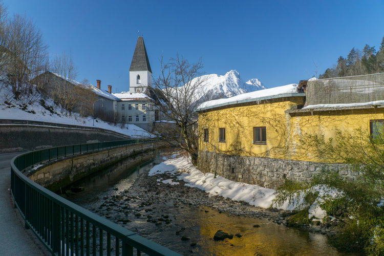 Cold Days Steiermark Austria Grundlsee Bad Aussee Winter Architecture Built Structure Building Exterior Building Nature Sky Tree Plant No People Day Clear Sky Bridge Snow Transportation Outdoors Water Connection Railing Cold Temperature Canal