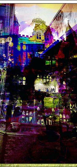 Urban Collage Multi Colored Night Illuminated Architecture Nightlife Lighting Equipment Built Structure