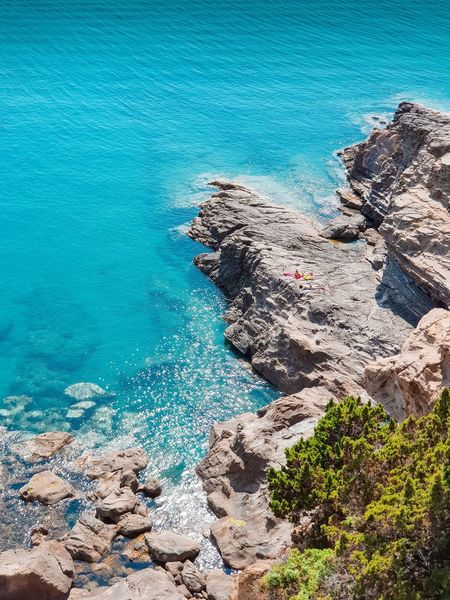 Aerial view of tuscany etruscan coast Drone  Aerial Bathers Nature Holidays Travel Tourism Tuscany Italy Cliffs Rocks Blue Turquoise Sea Beach Blue Tree High Angle View Sunlight UnderSea Sky Turquoise Shore Wave Surf Rock Ocean Clear Coast Calm