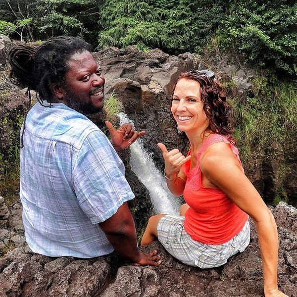Me and Michelle hangin loose after our climb to the top of rainbow falls Hawaii Hawaiistagram Rainbowfalls Waterfall hiking youaintboutthatwife nature