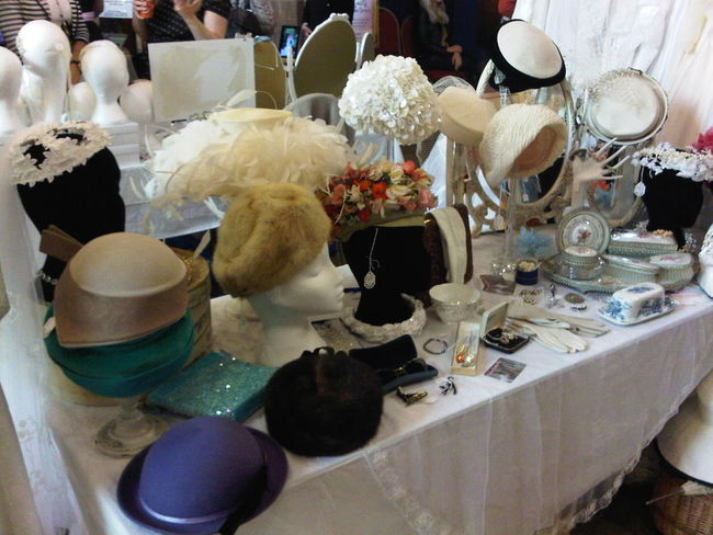 1940's 1950's Abundance Arrangement Choice Display Faux Fur Fur Hats, Straw Hats, Sunshade, Gloves, Protection Indoors  Indulgence Large Group Of Objects Retail  Table Temptation V Variation Vintage Vintage Fair