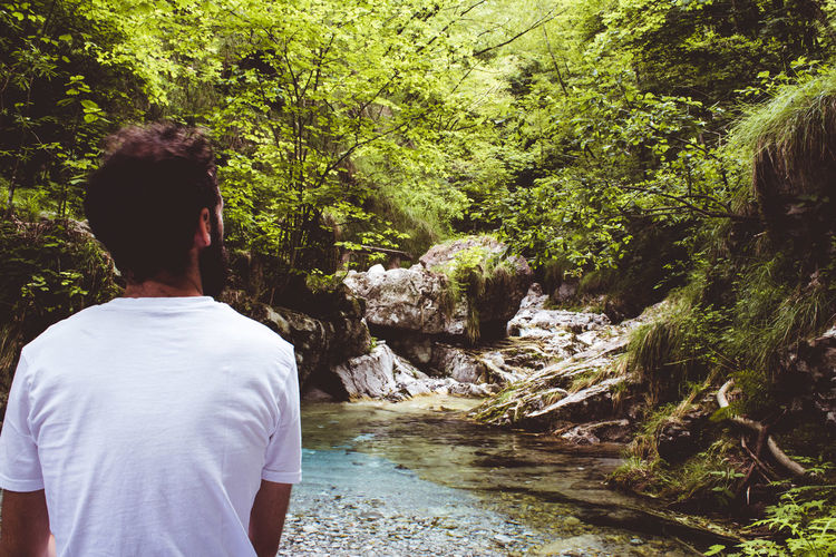 Rear View Of Man Standing By Stream In Forest