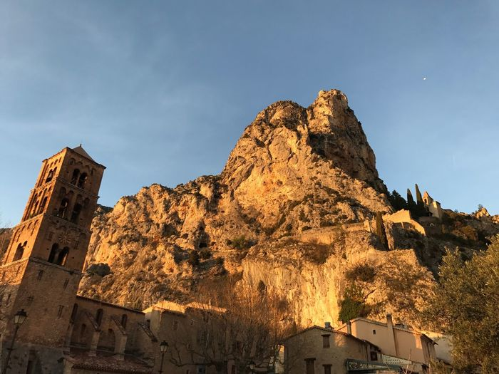 Low angle view of moustiers commune