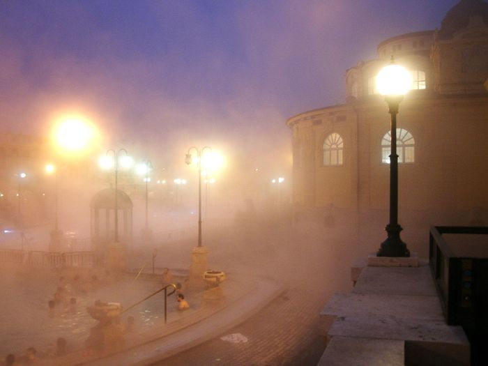 Budapest Hungary Széchenyi Baths Thermal Bath Foggy Illuminated Winter Outdoors Travel Destinations Snowing City Mist Bathing Fog Relaxing New Years Architecture Old Buildings Street Light Healthy Warm