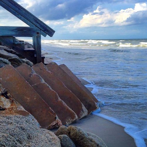 New smynra beach, Fl Staircase Stairs To Nowhere Ocean View Ocean Waves Nautical Rubble Debris Hurricane