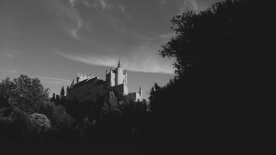 The spanish Hogwarts Castle View  Segovia Spanish Arquitecture Alcazar Beautiful Place Beautiful View In Love Architecture Architecture In Nature Black And White Photography Black And White Architecture Monochrome Photography Miles Away
