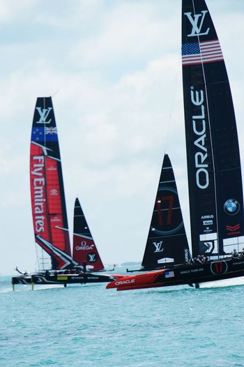 Americas Cup Oracle Fly Emirates Transportation Day Nautical Vessel Water Outdoors Flag Sky Adventure Patriotism Sport No People Extreme Sports Professional Sport