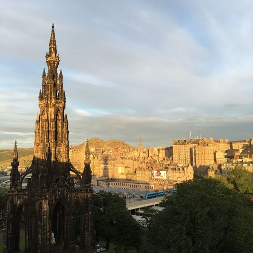 View Scott Monument City Sunset Clouds The City Light