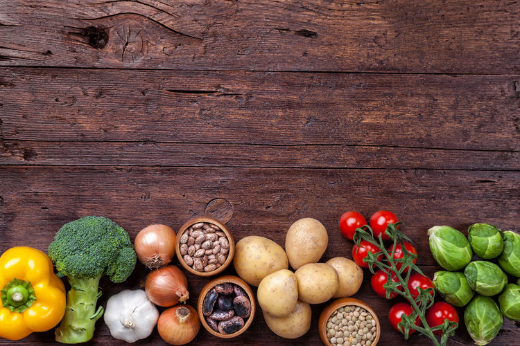 Directly above shot of various fruits on wood