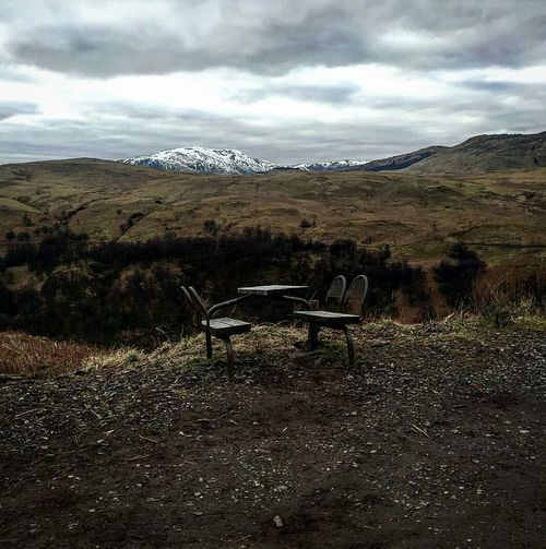 Surreal Surrealism Callander Scotland Schooltable Bleak Abandoned No People Mountain Outdoors Landscape Scotland HillWalk Hilltop Scenic View Horizon Nature Mountains Tranquil Scene Beauty In Nature Chair Scenics Tranquility Day Field Grass Cloud - Sky