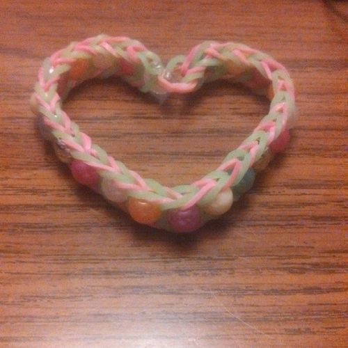 The way my bracelet formed after I took it off <3 Beaded_fishtail Heart Love Green_and_pink Pearls