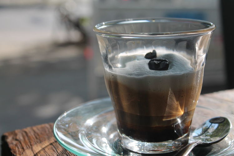 Close-up of gourmet coffee drink